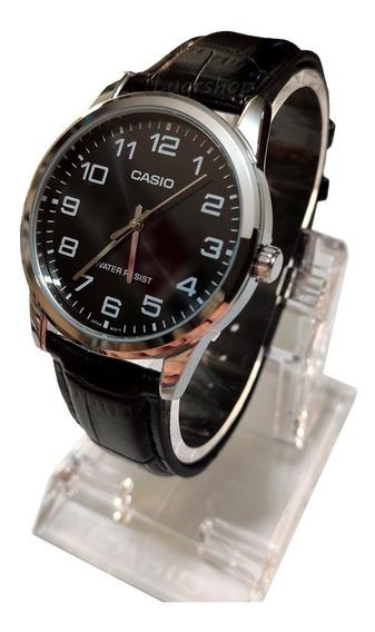 Relógio Casio Masculino Couro Preto Mtp-v001l Original Nf