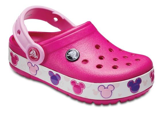 Crocband Mickey Pink Rosa Light Con Luces Niña Originales
