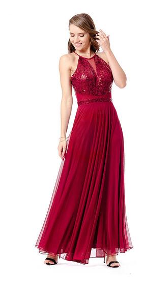 Nína Ferré Vestido De Noche Elegante Largo Color Vino