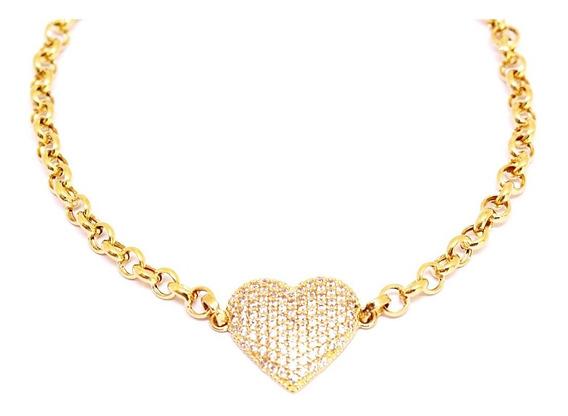 Pulseira Feminina Coração Ouro 18k