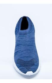 Tênis Meia Unissex Em Malha Knit Azul Mesclado Italeoni