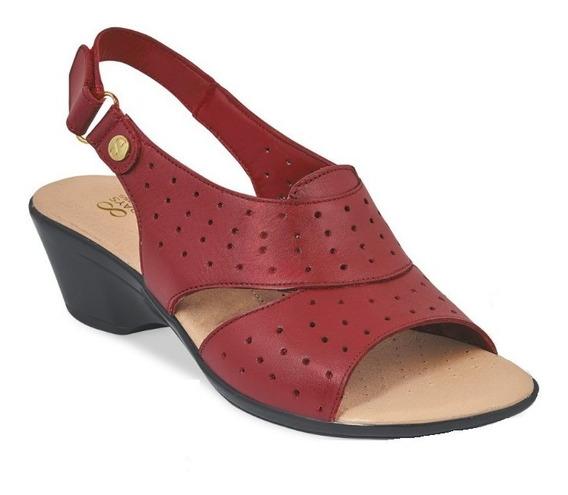 Calzado Sandalias Dama Mujer Comodas Piel Genuina Color Rojo