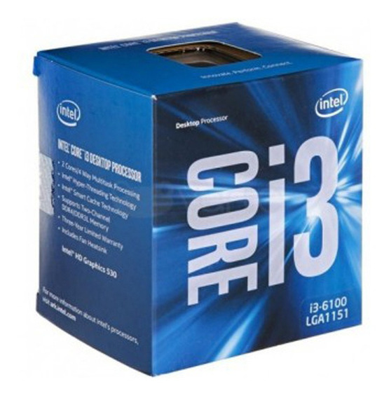 Microprocesador Intel Core I3-6100 3,7 Ghz 3mb Intel Hd 530