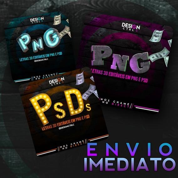 Letras 3d (neon, Cinema E Pedra) Para Edição De Imagens Fly
