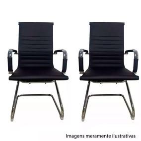 2 Cadeiras Presidente Couro Preta Esteirinha Fixa Et7017-1p