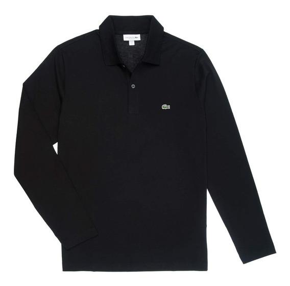 Chomba Lacoste Polo Lisa Clasica Jersey Ml Negro Azul I20