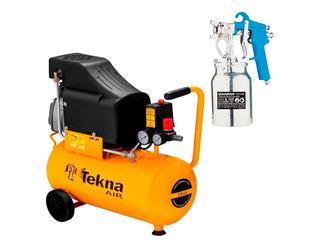 Kit Compressor Ar 24l Cp8525 Tekna + Pistola Pintura Gamma