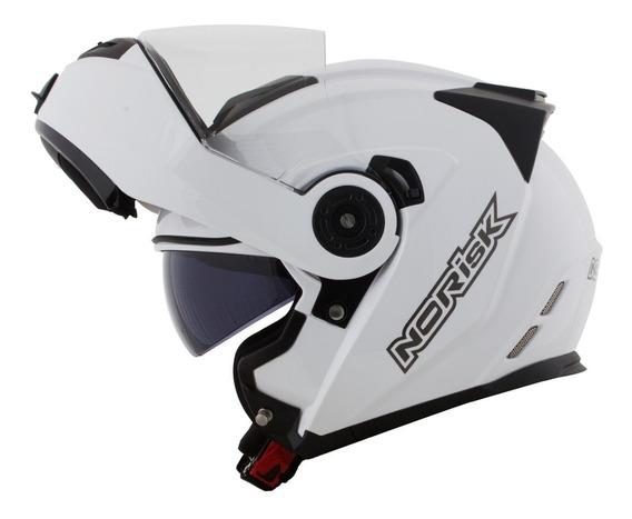 Capacete Norisk Route Ff345 Articulado Branco Robocop