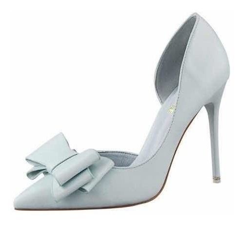 Sapato Scarpin Bico Fino Laço Salto Fino 8cm