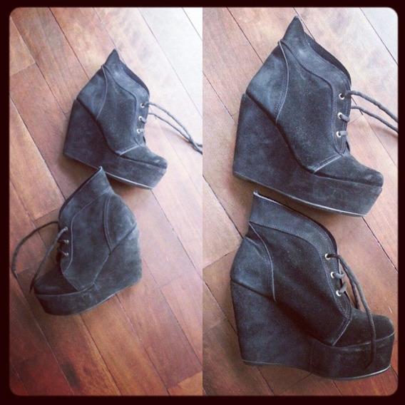Zapatos Negros Talle 36 - Gamuza