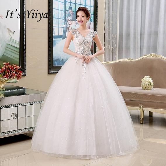 Vestido De Noiva Princesa Catedral Saiote Véu Tiara Promoção