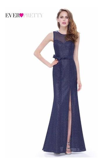 Vestido De Fiesta Importado Azul Talle L
