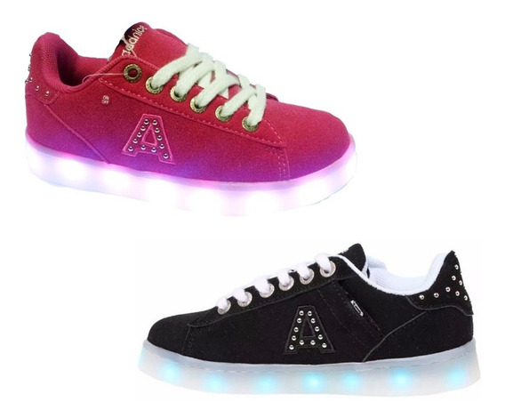 Zapatillas Addnice Luces Led New York Negro Cuotas Mmk Nyled