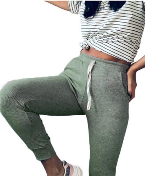 Pantalón Chupin De Lanilla Verde Militar Mujer Abrigado