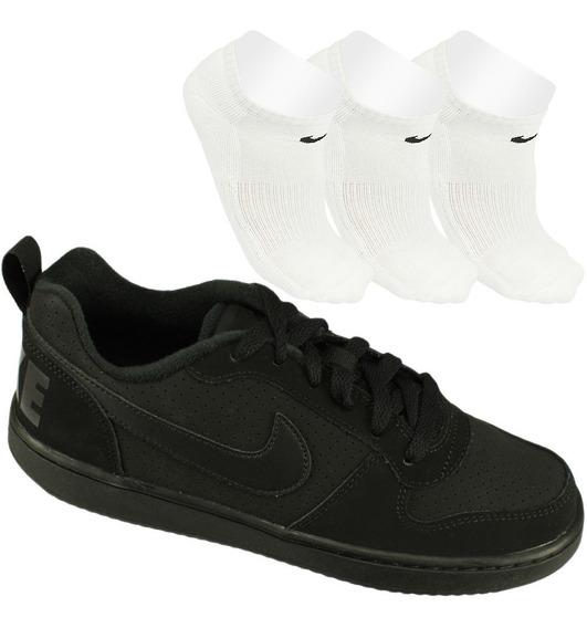 Promoção Nike Tênis Gs Casual Preto-branco+ 3 Meias Original