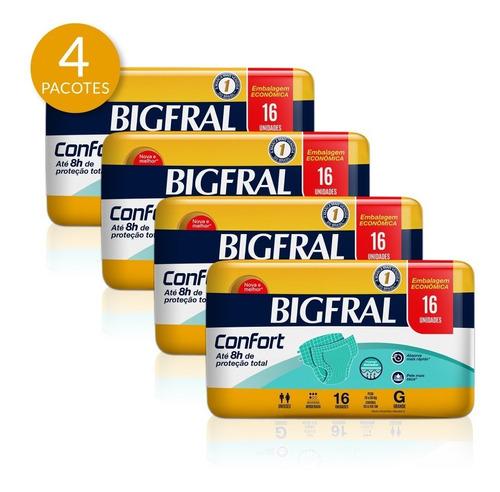 Kit Fralda Bigfral Confort Gd 64 Unidades