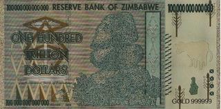 Billete De 100 Trillones De Dolares Gold Foil Zimbabwe