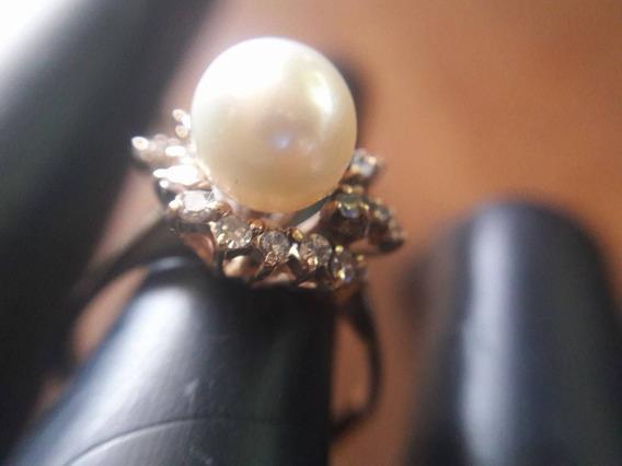 Anillo Diamantes .2 Pts Perla 14 K Oro Único En Mex Oferta