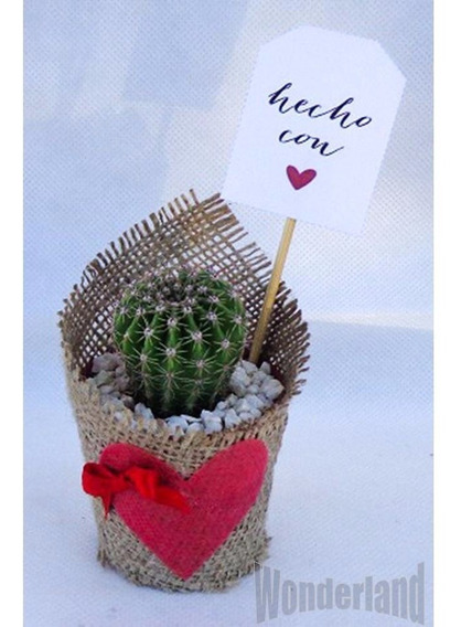 20 Souvenir Cactus Y Suculentas En Tela Arpillera, Tarjetita