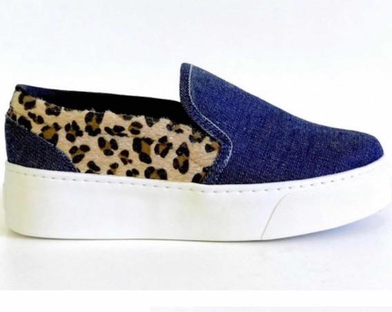 Tenis Slip On Iate Slipper Sola Alta Flatform Jeans Onça Animal Print Lançamento Moda 2020 12x Frete Grátis