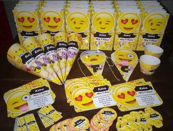Tarjetas Invitacion Emoticones Emojis Cotillon X 20 Chicos
