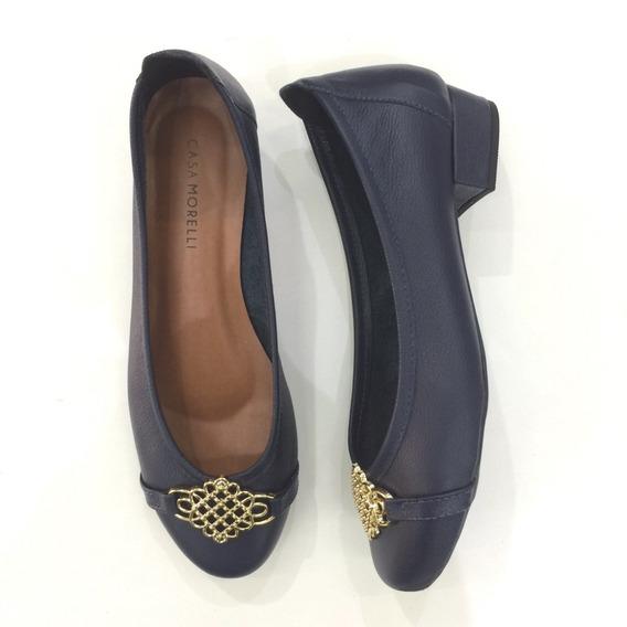 Sapato Feminino Couro Legítimo Marinho Saltinho 25292