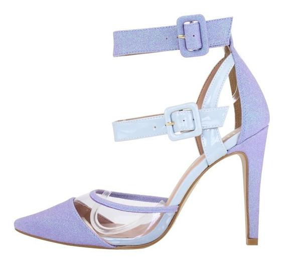 Scarpin Salto Alto Week Shoes Glittler Lilás
