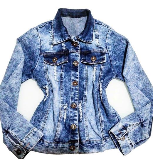 Jaqueta Jeans Com Lycra Blusa Destróier Feminino Instagram