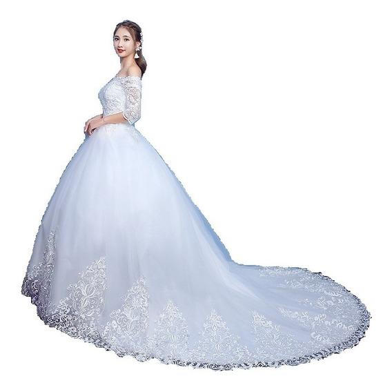 Vestido De Noiva Princesa Plus Size Com Cauda, Véu E Saiote