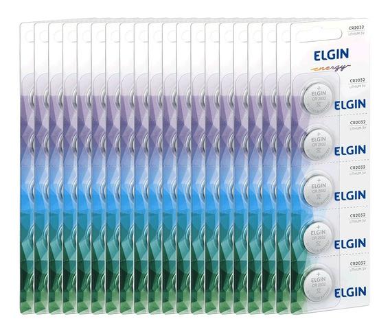 20 Cartelas Bateria Elgin Cr 2032 3v Lithium Cartela C/ 5un