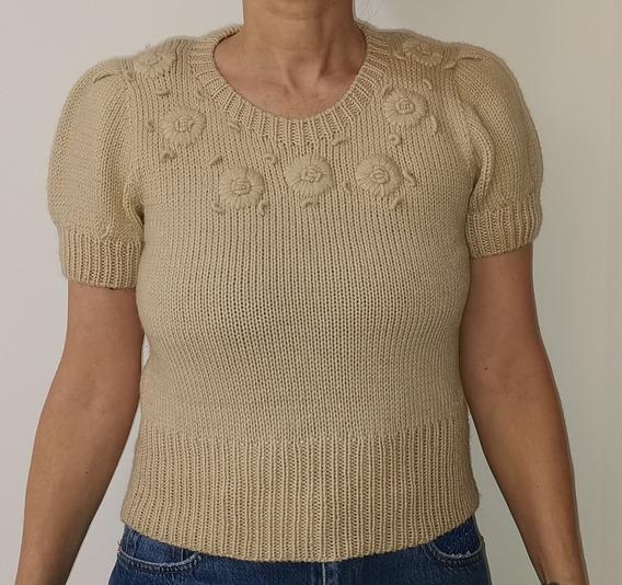 Sweater Manga Corta Paula Cahen D´anvers Impecable, Delicado