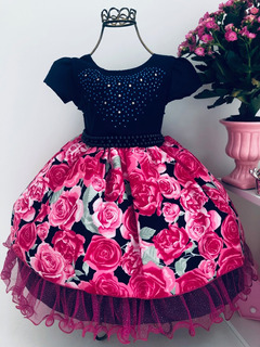 Vestido Marinho Floral Festas Princesa Infantil Luxo