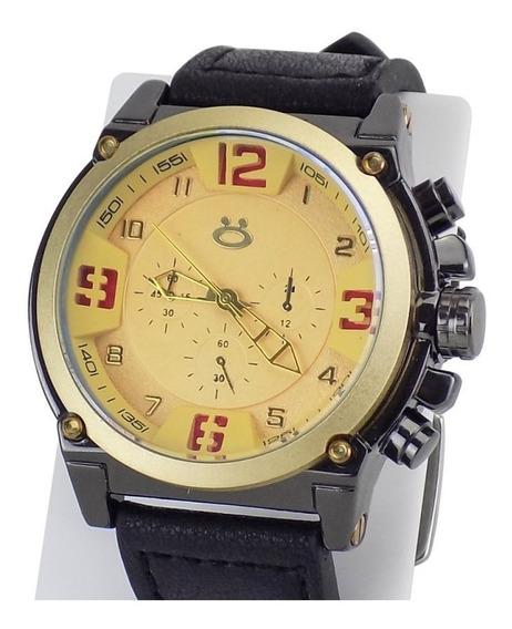 Relógio Masculino Dourado Original Pulseira Couro Garantia