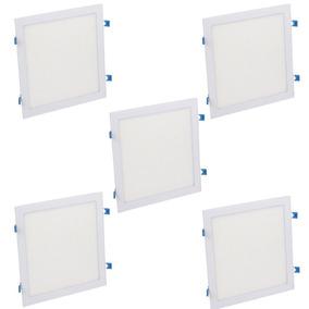 Kit 5 Plafon Painel Luminaria Led Embutir Quadrado 24w