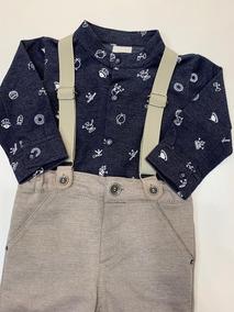 Conjunto Baby Masculino Suspensório Calça Camisa Body Anjos