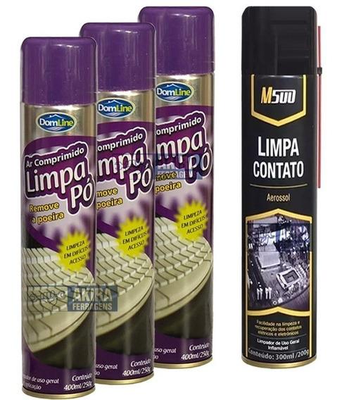 Ar Comprimido Spray Domline 3 Latas + 1 Limpa Contato M500