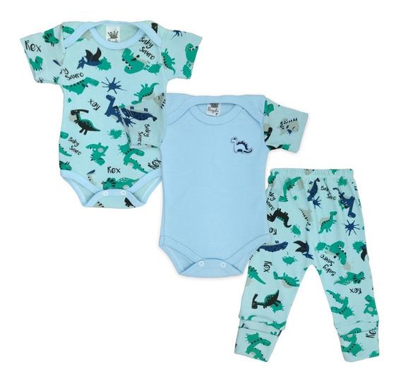 Kit 3 Peças Maternidade Roupas De Bebê Enxoval - Dinossauro