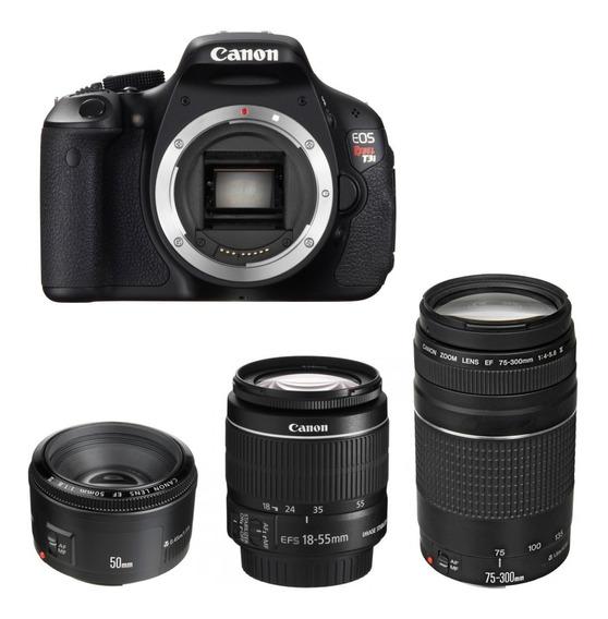 Camera Profissional Canon T3i + 3 Lentes + Kit Com Bolsa