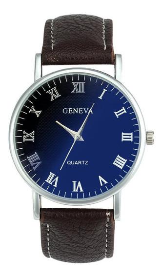 Relógio Masculino Luxo Quartz Geneva Casual Pulseira Couro