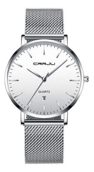 Reloj Hombre Crrju Plateado Moderno Regalo Caballero