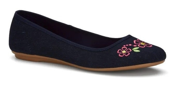 Zapato Flat Ballerina Dama Color Azul