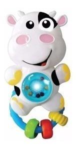 Chocalho C/ Som E Luz Para Bebê - Vaquinha - Zoop Toys