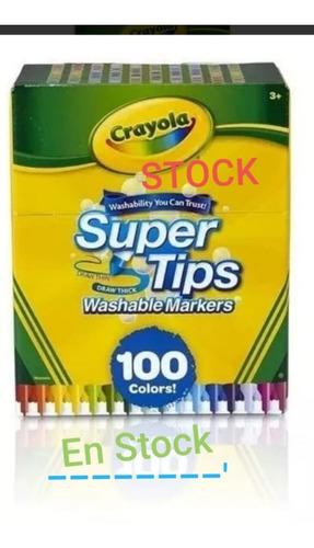 Crayola Supertips 100 Plumones Lavables Stock Niños