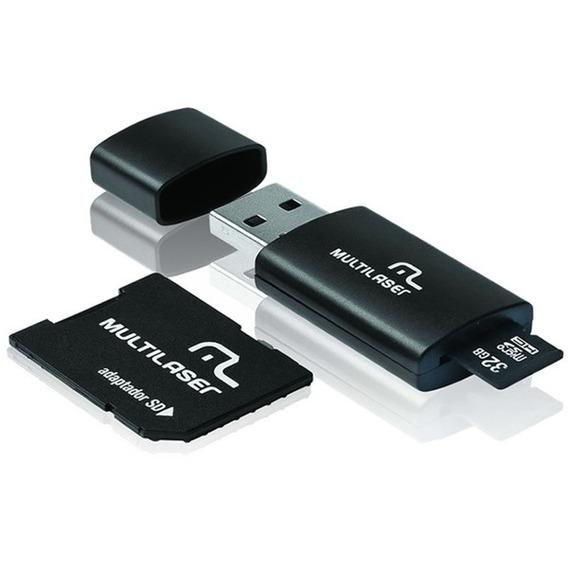Cartão De Memória Multilaser 32 Gb Micro Sd+usb Com Adaptado