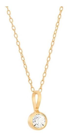 Colar Rommanel Folheado Ouro 18k Cristal Ponto De Luz 5 Mm 531642-540102