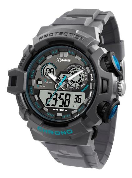 Relógio X-games Masculino Anadigi Xmppa246 Bxgx Cinza Azul