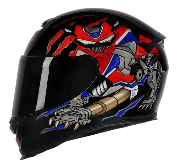 Capacete Motociclista Axxis Eagle Animals Preto / Vermelho
