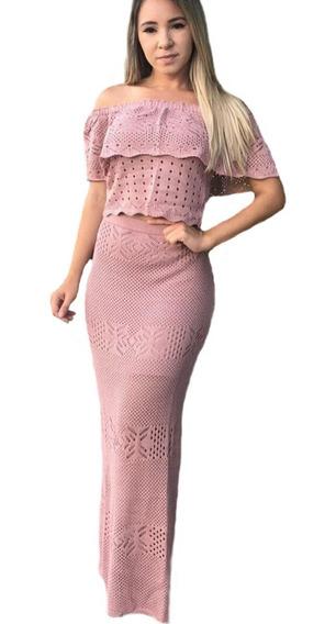 Vestido Longo De Madrinha Moda Trico Roupa Feminina Gestante