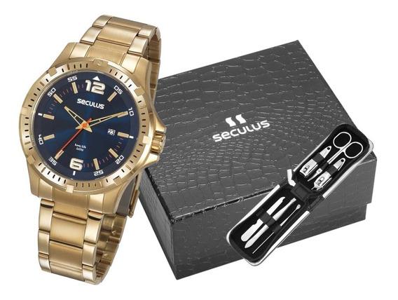 Kit Relógio Masculino Seculus Dourado 20788gpsvda3k1 Preto