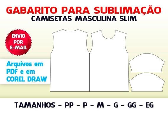 Camiseta Masculina Slim - Gabaritos Para Sublimação
